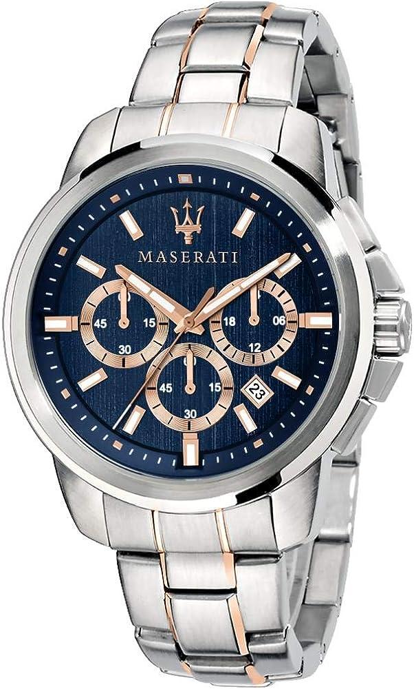 Maserati orologio da uomo, collezione successo, funzione cronografo in acciaio e pvd oro rosa R8873621008