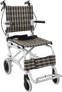 楽々健 折り畳み式車椅子 介助型 軽量アルミ製 簡易車椅子 旅行用 外出用 コンパクト