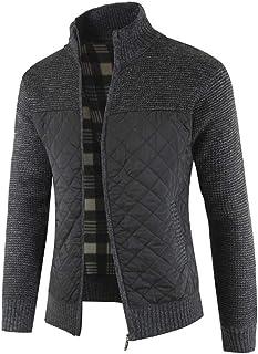 Yesmile hombre jacket, Yesmile Rebeca Hombre otoño Invierno Packwork Abrigo cálido de Manga Larga con Cremallera Cardigan de Punto Capa de Color Suave