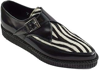 Zapatos de tierra de acero cuero negro blanco cebra pelo enredaderas monje hebilla puntiaguda