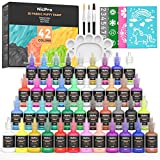 Nicpro 3D Fabric Paint Set, 42 Colors Puffy Paints for Kid & Adult with 3 Brushes and Stencils, Palette| Permanent Textile Paint Including Neon & Glitter& Metallic Glue Colors for Close Craft, T-Shirt, Glass and Wood