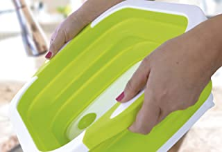 Folding Cutting Board With Basket | Collapsible Dish Tub with Draining Plug | Colander Fruits Vegetables Wash and Drain Sink Storage Basket