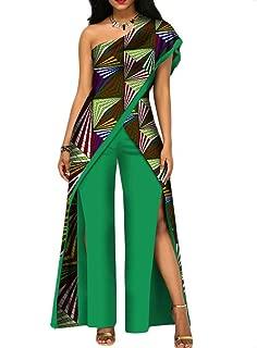 BintaRealWax Womens Elegant One Shoulder 2 Piece Outfits African Long Tops & Front Cut Pants Set