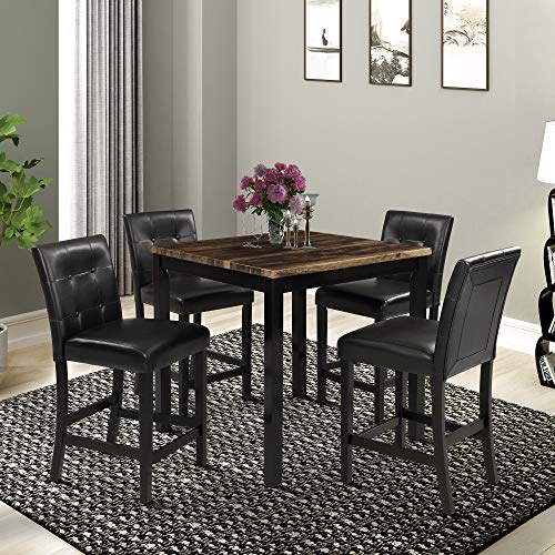 Harper & Bright Designs 5-Piece Kitchen Table Set Brown Wood Grain Top Counter Height Dining Table Set with 4 Black Leather-Upholstered Chairs