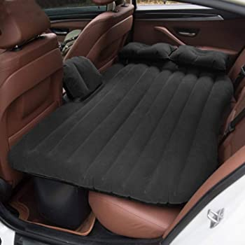 AllExtreme EXUCMB1 Multifunctional Inflatable Car Bed Mattress Universal Car Back Seat Travel Air Inflation with Two Air Pillows, Car Air Pump and Repair Kit (Black)