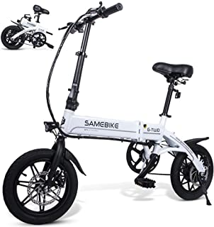 Samebike Folding Electric Bike 14 inch Wheels 250W Motor 36V E Bicycle with Pedals for Adults