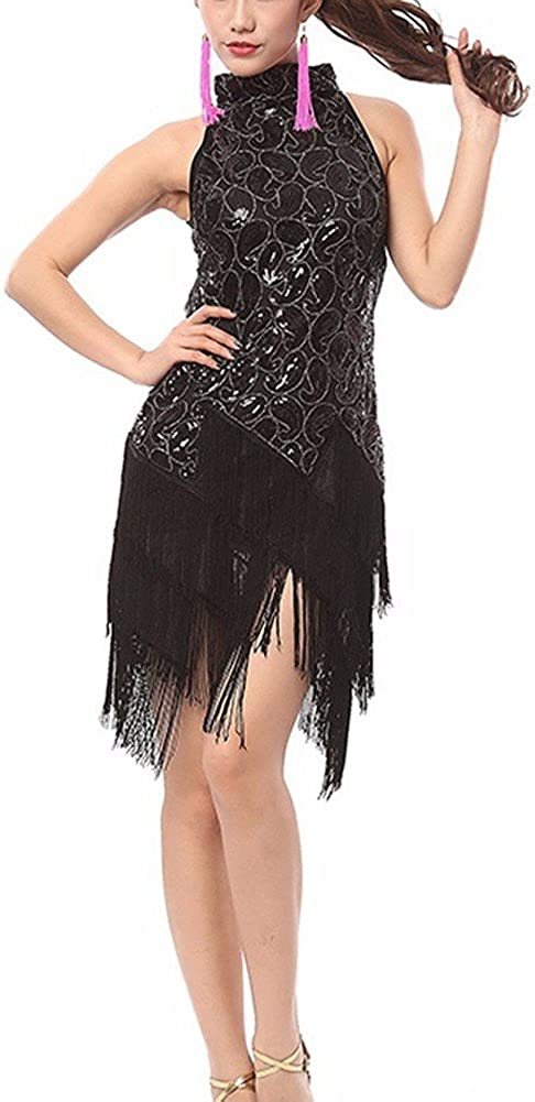 Pilot-Trade Women's Evening Cocktail Party Club Latin Dance Fringes Necklace Dress