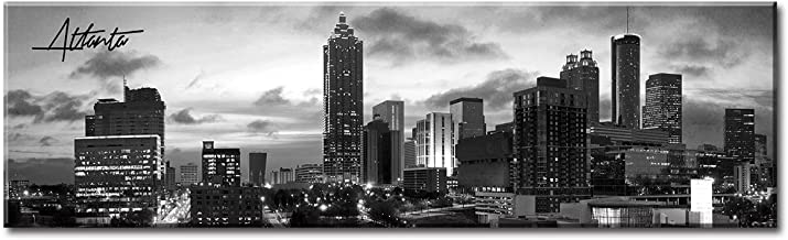 DJSYLIFE Atlanta Skyline Wall Art - Cityscape Picture Wall Decor Stretched Canvas Art Prints for Bedroom or Office - Framed and Ready to Hang - 13.8