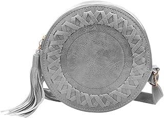 Women Tassel Bag Woven Crossbody Shoulder Bags Messenger Handbags (Grey)