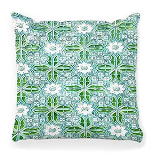Funda de Cojine Funda de almohada decorativa verde tradicional Objeto de arte de Portugal Pintura al aire libre Azulejo de piedra portugués Blanco Throw Cojín 45X45CM
