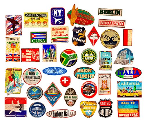 Luggage stickers suitcase 37x patches vintage travel labels retro vintage graffiti iphone car stickerbomb style vinyl decals door skateboard cafe