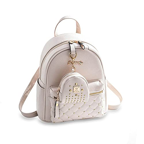 36130c48790a Cute Small Backpack Mini Purse Casual Daypacks Leather for Teen and Women  White