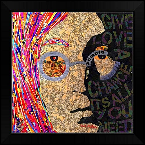 CANVAS ON DEMAND John Lennon Face Neal Black Framed Art Print, 19'x19'x1'