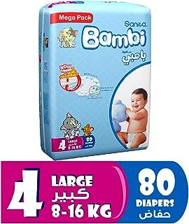 Sanita Bambi Baby Diapers Mega Pack Size 4, Large, 8-16 KG, 80 Count