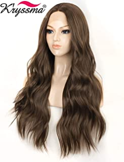 K'ryssma Fashion Brown Lace Front Wigs for Women Long Wavy Synthetic Wig Middle Parting Heat Resistant Glueless Brown Wig 22 inches