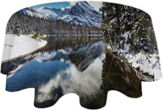 YOLIYANA Winter Waterproof Round Tablecloth,Tranquil View of Glacier National Park in Montana Water Reflection Quiet Peaceful Decorative for Living Room,39.3