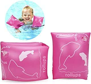 ALIXIN-Brazaletes inflables flotantes Anillos,Flotadores Alas de Agua Brazos,Anillos de natación Brazaletes de Tubos para niños pequeños y Adultos(más de 4 años Peso Menos de 80 kilogramos, Rosa)