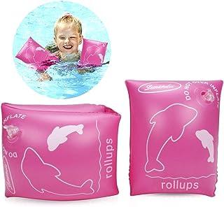 ALIXIN-Brazaletes inflables flotantes Anillos,Flotadores Alas de Agua Brazos,Anillos de natación Brazaletes de Tubos para niños pequeños y Adultos(0-4 años niños, Rosa)
