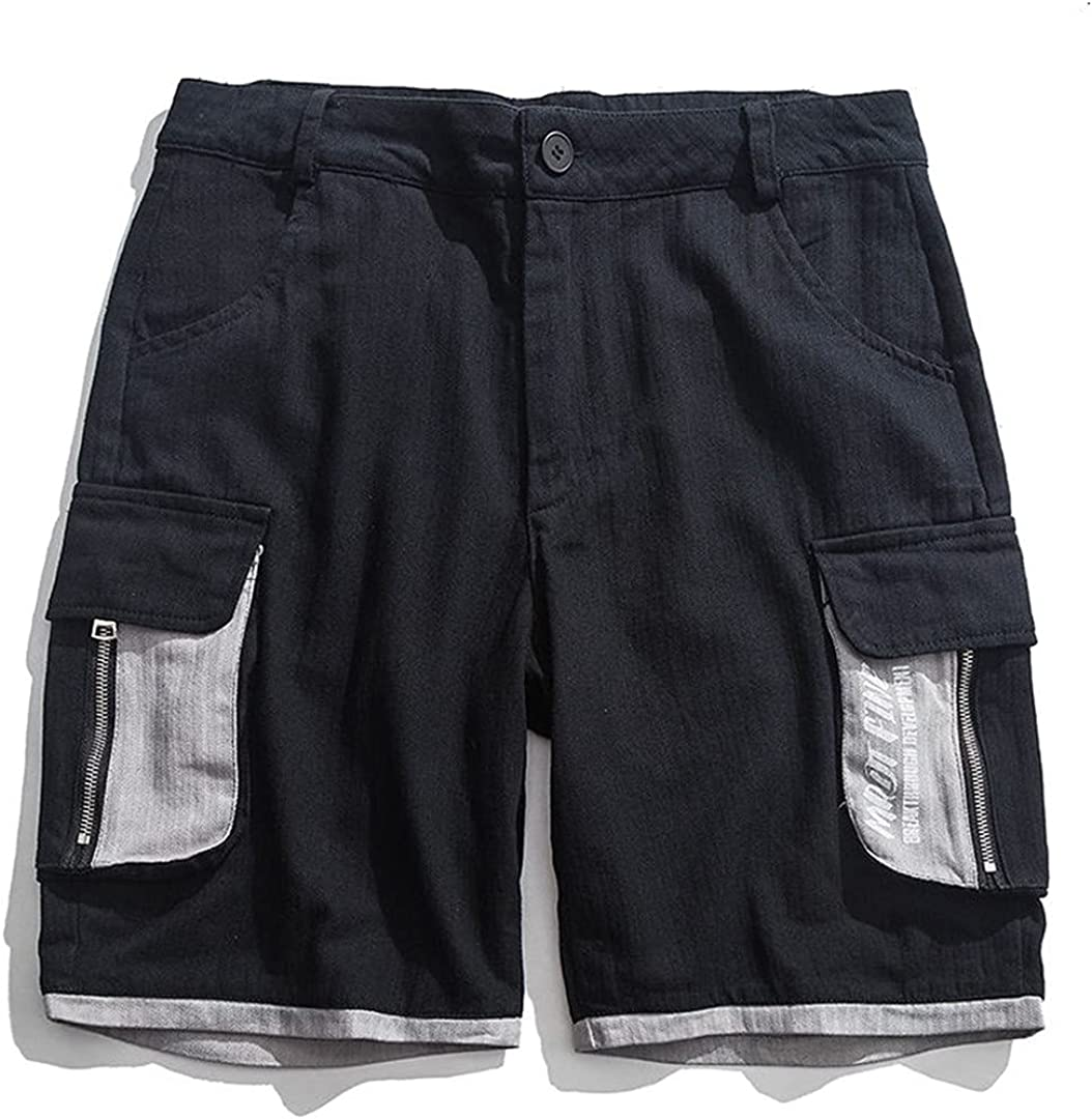 Men's Contrasting Color Double Pocket Cargo Shorts Summer Cotton Wide Legs