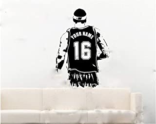 Hisoa Wall Decal Sticker Art Mural Home Decor Quote Basketball Player Personalized Jersey Name and Number Custom Name Boys Room Decor Gift