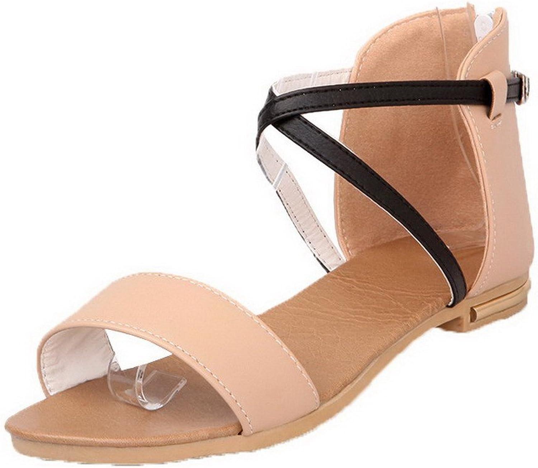 WeiPoot Women's Open Toe Low-Heels Pu Solid Buckle Sandals