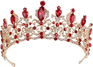 Women Princess Crown Headband Red Crystal Rhinestone Tiara And Crowns Hair Band Jewelry Gold Wedding Bridal Hair Accessories