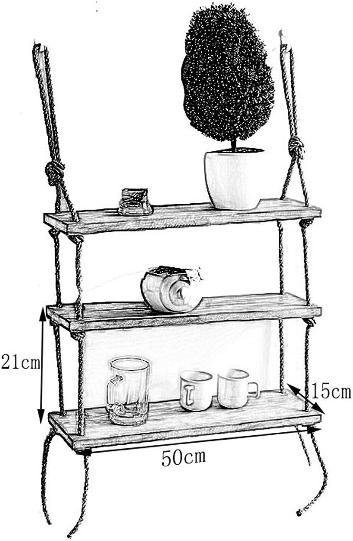 venta al por mayor barato Jia Jia Jia He Estante Estante de parojo de madera de creatividad con estantes de cuerda de cáamo Colgante de parojo como estantería de almacenamiento Estante de parojo decoraciones de Diseño Vintage estilo LOF  promociones de equipo