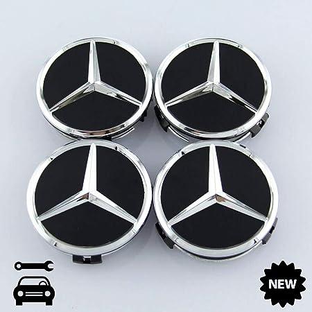 Felgendeckel Mercedes Benz 4 X 60mm Nabendeckel Radnabenkappen Radkappen Felgenkappen Nabenkappen Wheel Caps Chrom Schwarz Auto