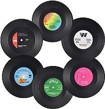 Jinlaili 6-delige set van retro vinylonderzetters, retro onderzetters voor drankjes, vinylonderzetters voor drankjes, anti...