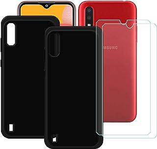 TTJ [2 st. svart fodral för Samsung Galaxy M01S [2 stycken] HD pansarglas, mobiltelefonfodral silikon skyddande fodral TPU...