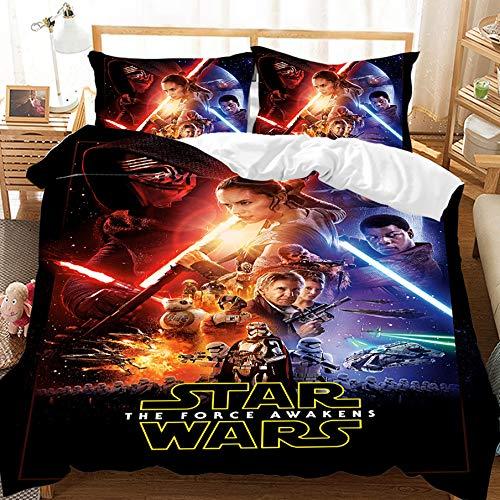 BATTE - Set copripiumino Star Wars con motivo 3D per bambini, adolescenti e adulti, 2/3 set di biancheria da letto in microfibra morbida (E,140 x 210 cm)