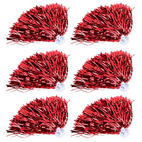 VGEBY 6 pezzi Cheerleading Pom Poms Set Sport Fancy Party Dance Accessories(Rosso)