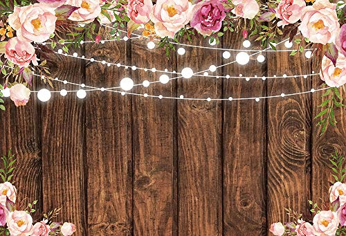 COMOPHOTO 7x5ft Rustic Wood Floral Backdrop Bridal Shower Birthday Party Decorations Photography Background Wooden Board Wedding Photo Booth Backdrops