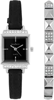Peugeot Women's Petite Crystal Wrist Watch with Matching Pyramid Bracelet Gift Set