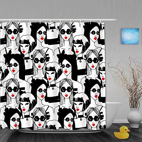 BCVHGD Cortina de Baño,Modelo Mujer Gafas de Sol Lápiz Labial Rojo Moda Glamour Chica Fondo,Cortinas de Ducha con 12 Ganchos de plástico 180 * 200cm