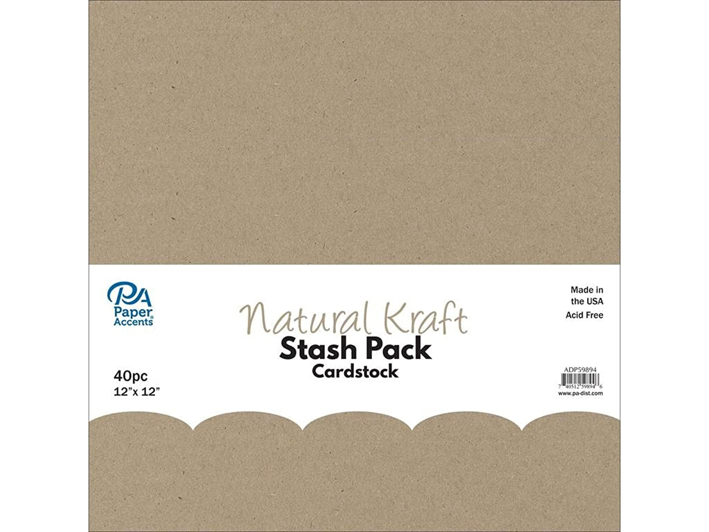 Paper Accents 40pc Stash Pack 12x12 Natural Kraft