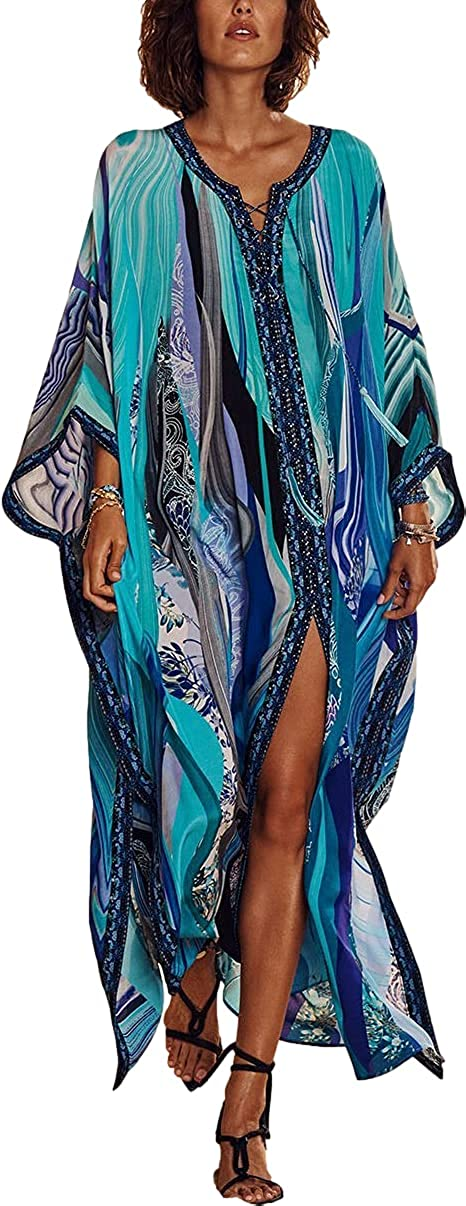 RanRui Women's Loose Kaftan Maxi Dress Swimsuit Cover Up Beach Casual Caftan Dress