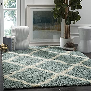 Safavieh Dallas Shag Collection SGD257C Light Blue and Ivory Area Rug (3' x 5')