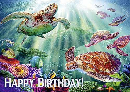 Pacifica Island Art Turtle Voyage by Steve Sundram - Set of 12 Hawaiian Greeting Cards - Birthday Glitter Card