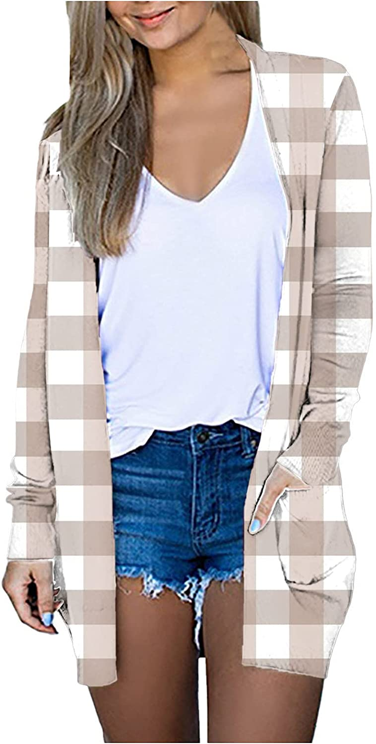 Plaid Cardigans for Women Open Front Long Cardigan Ladies Plaid Print Lightweight Outerwear Women Long Fall Coat with Pockets