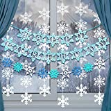 8 Pieces Snowflake Happy Birthday Banner Christmas Hanging Decorations Includes White Blue Light Blue Snow Frozen Snowflake Garland for Girls Snow Frozen Theme Party Supplies Party New Year