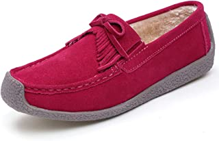 DOSOMI Women's Penny Loafers Bowknot Faux Suede Flat Casual Walking Boat Shoes Antiskip Comfortable Slip On Moccasins