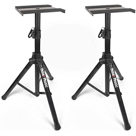 Amazon Com Pair Of Studio Monitor Speaker Stands By Hola Music Professional Heavy Duty Tripod Structure Adjustable Height Model Hps 600ms Musical Instruments