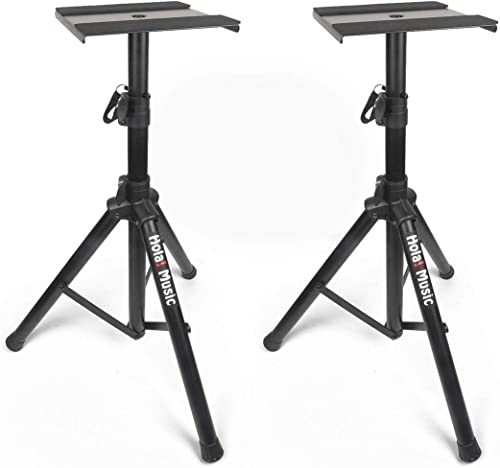PAIR of Studio Monitor Speaker Stands by Hola! Music, Professional Heavy-Duty Tripod Structure, Adjustable Height, Mo...