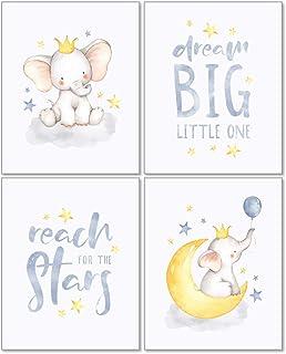 Confetti Fox Elephant Dream Big Baby Nursery Wall Art Decor - 8x10 Unframed Set of 4 Prints - Gender Neutral Boy Girl Lull...