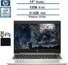 HP ProBook 440 G6 2019 Premium 14 Inch HD Laptop Business Notebook, Intel Core i5-8265U (up to 3.90 GHz), 12GB DDR4 RAM, 512GB SSD, WiFi, Bluetooth, HDMI, Windows 10 Pro W/ Accessories Bundle