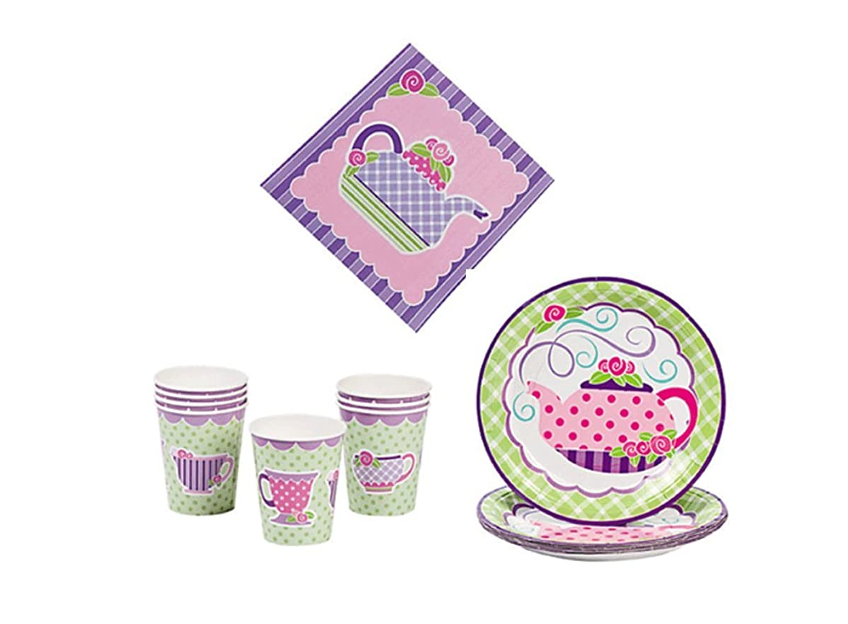 Tea Party Kit - Birthday Party Supplies Set Tea Party Theme Dinner Plates and Napkins and Cups