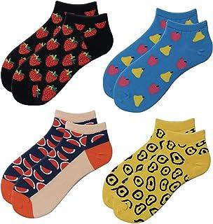 4 pares Calcetines cortos hombre divertidos, Calcetines estampados tobilleros, Calcetines de colores de algodon