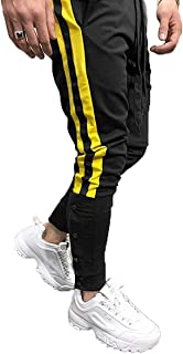 Mens Gym Jogger Pants Striped Patchwork Running Trousers Hiphop Dance Jogger