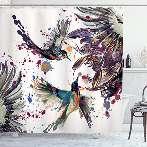 Ambesonne Hummingbird Shower Curtain, Art with Lily Flowers...